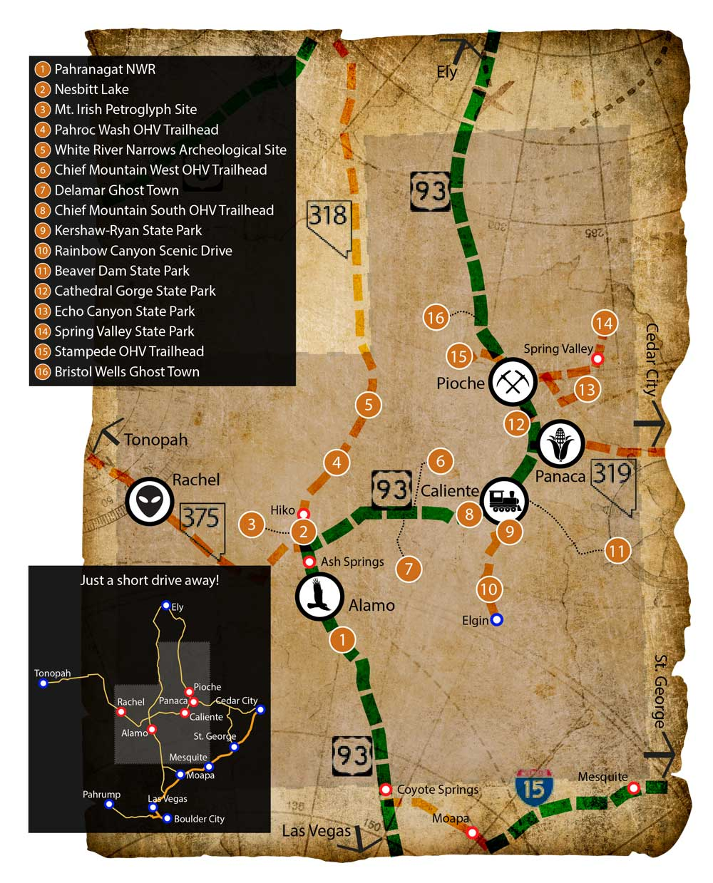 Maps of Lincoln County, Nevada | Destinations Near Las Vegas Alamo Nevada Map on
