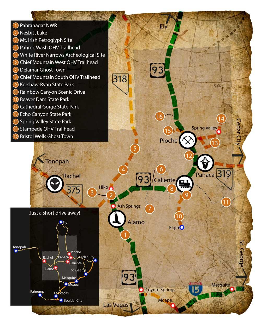 Maps of Lincoln County, Nevada | Destinations Near Las Vegas