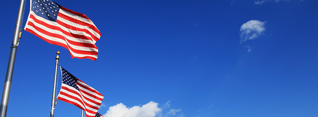 American flags and blue sky