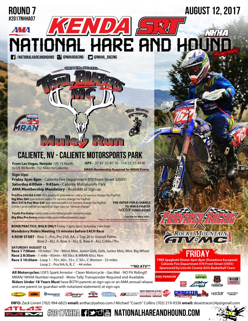 National Hare and Hound - Trail Blazers MC Mule Run - Caliente, NV - August 12, 2017