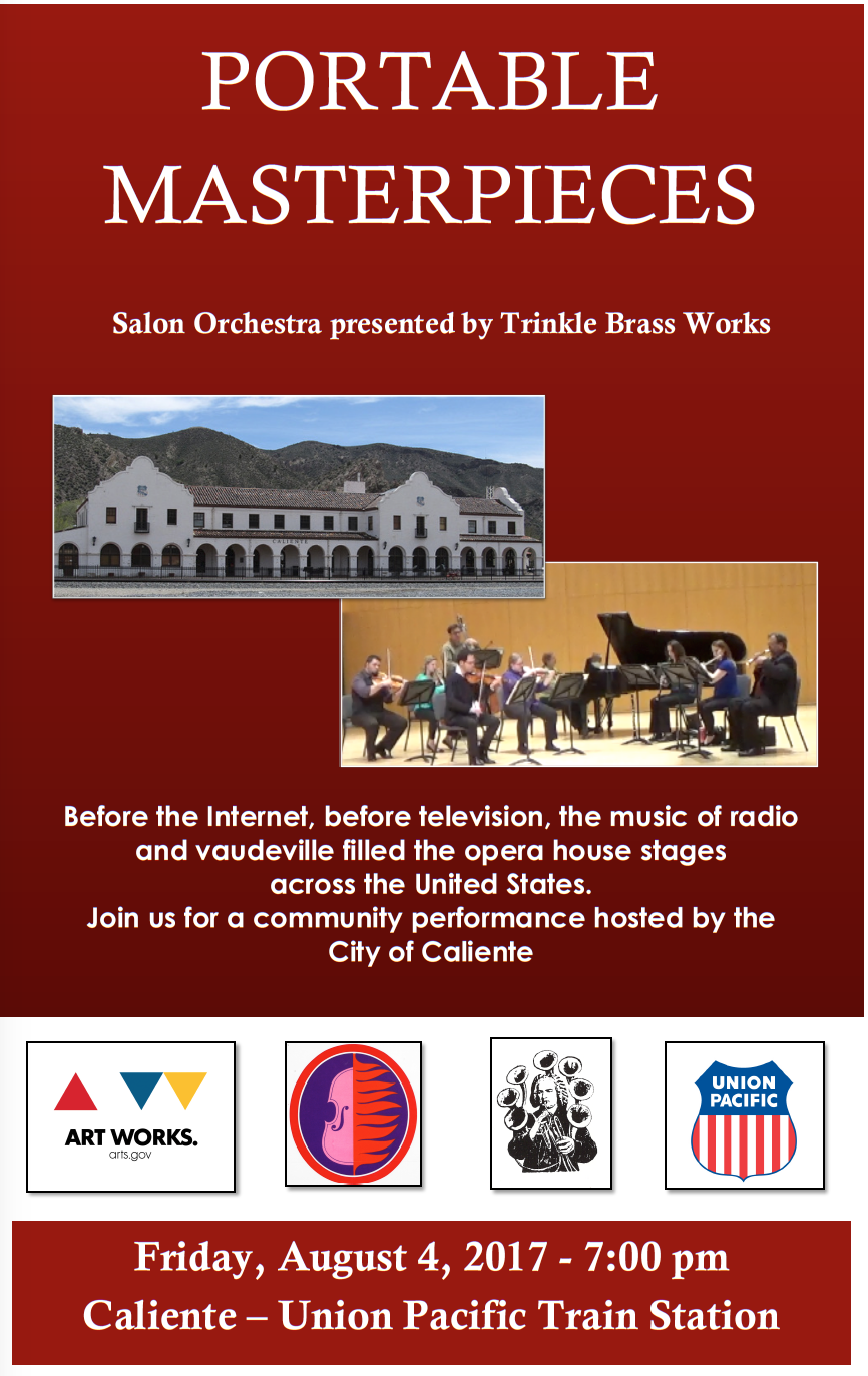 Portable MAsterpieces - Salon Orchestra presented by Trinkle Brass Works - Friday, August 4, 2017 - 7 p.m. - Caliente Depot