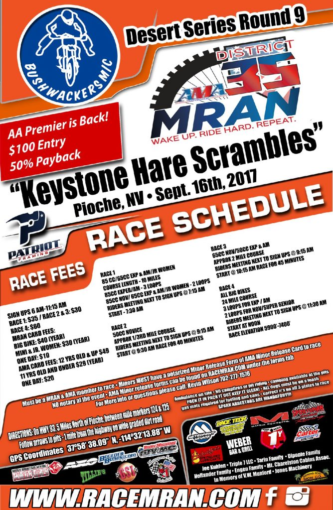 Desert Series Round 9 Keystone Hare Scrambles - Pioche, NV - Sept. 16th, 2017 - Sign Ups 6 a.m. to 11:15 a.m. Races start at 7:30 a.m.