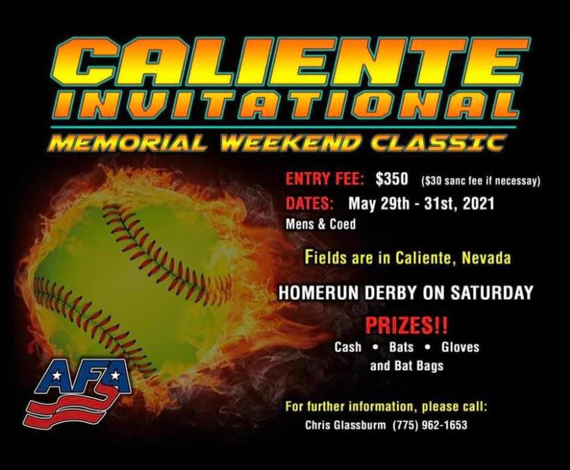 Caliente Invitational Softball Tournament Flyer
